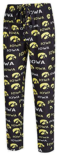 Concepts Sports NCAA Men's Midfield Synthetic Pajama Pants (WAISTSIZE L=34/35, Iowa Hawkeyes Black) - Iowa Hawkeyes Lounge Pant