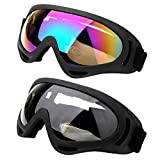Pack of 2 Ski Goggles, Outdoor Glasses Snowboard Ski Goggles Motorcycle Goggles Eye wear Dust-Proof Protective Combat Play Games Goggles with UV Protection, Windproof, Anti Glare