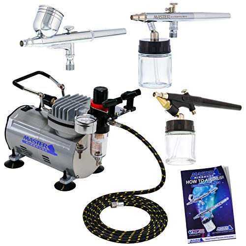 Master Airbrush 3 Airbrush Professional Multi-Purpose Airbrushing System Kit - G22, S68, E91 Gravity & Siphon Feed Airbrushes, Hose, Air Compressor, Airbrush Holder - How-to-Airbrush Guide Booklet