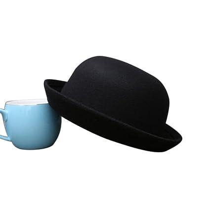 Amazon.com   Wenyujh Classic Bowler Hat Soild Color Derby Hat for ... bbc88b8464f