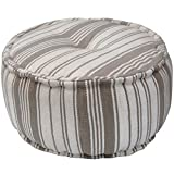 Herat Oriental Indo Handmade Striped Cotton Round Puff