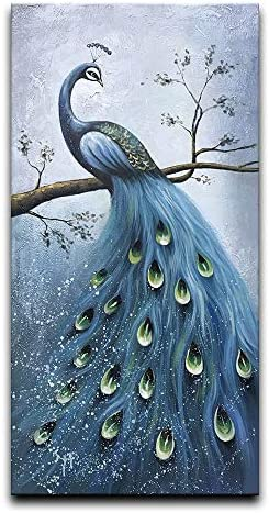 Desihum-Blue Peacock Artwork Canvas Wall art 100 Hand Painted Oil Painting 3D Effected Animal Wall Art Large Vertical Framed Arcrylic Painting for Living Room Bedroom Hallway Modern Home Decor 24×48