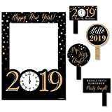 Big Dot of Happiness New Year's Eve - Gold - 2019 New Years Eve Party Selfie Photo Booth Picture Frame & Props - Printed on Sturdy Material