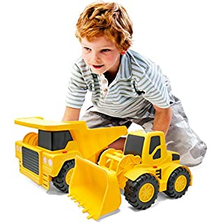 Boley Builders 2 Pack Construction Vehicles - Large Yellow Front Loader and Dump Truck with Lights and Sounds - Kids Construction Toys Set for Toddlers Boys and Girls