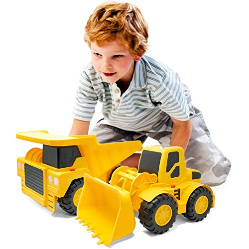 Boley Builders 2 Pack Construction Vehicles – Large Yellow Front Loader and Dump Truck with Lights and Sounds – Kids…