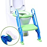 Potty Chair Portable Potty Training Seat for Toddler Toilet Seat with Ladder for Boys and Girls, Soft Cushioned Children Toddler Toilet Seat with Ladder Step Stool Kids WC Training with Anti Slip Pad
