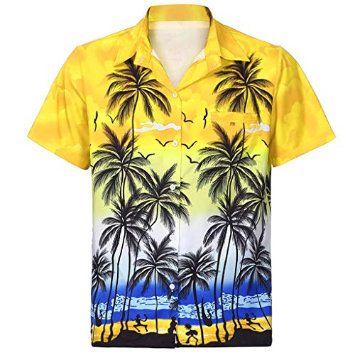 Men Hawaiian Shirt Short Sleeve Front-Pocket Beach Floral Printed Tee Top ()
