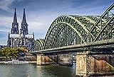 Laeacco 10x8ft Cologne Bridge Backdrop Vinyl Photography Background European Cathedral Germany Scenery Rivers Scenic Spot Children Kids Adults Portraits Backdrops Photo Studio Props