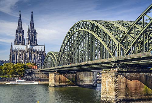 Cheap  Leyiyi 5x3ft Photography Backdrop Vintage Cologne Cathedral Background Hohenzollern Bridge Koln Triangle..