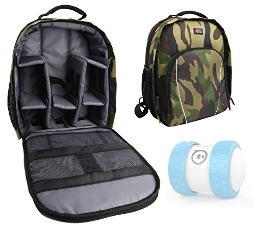 DURAGADGET Camouflage Water-Resistant Backpack for Sphero Ollie / Sphero Ball Robot - with Customizable Interior & Raincover - Kid Tough Digital Camera Case