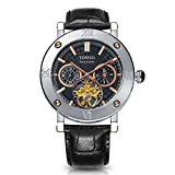 TIME100 Fashion Army-series Automatic Skeleton Genuine Leather Mechanical Watch Men's Watch #W60052G.01A