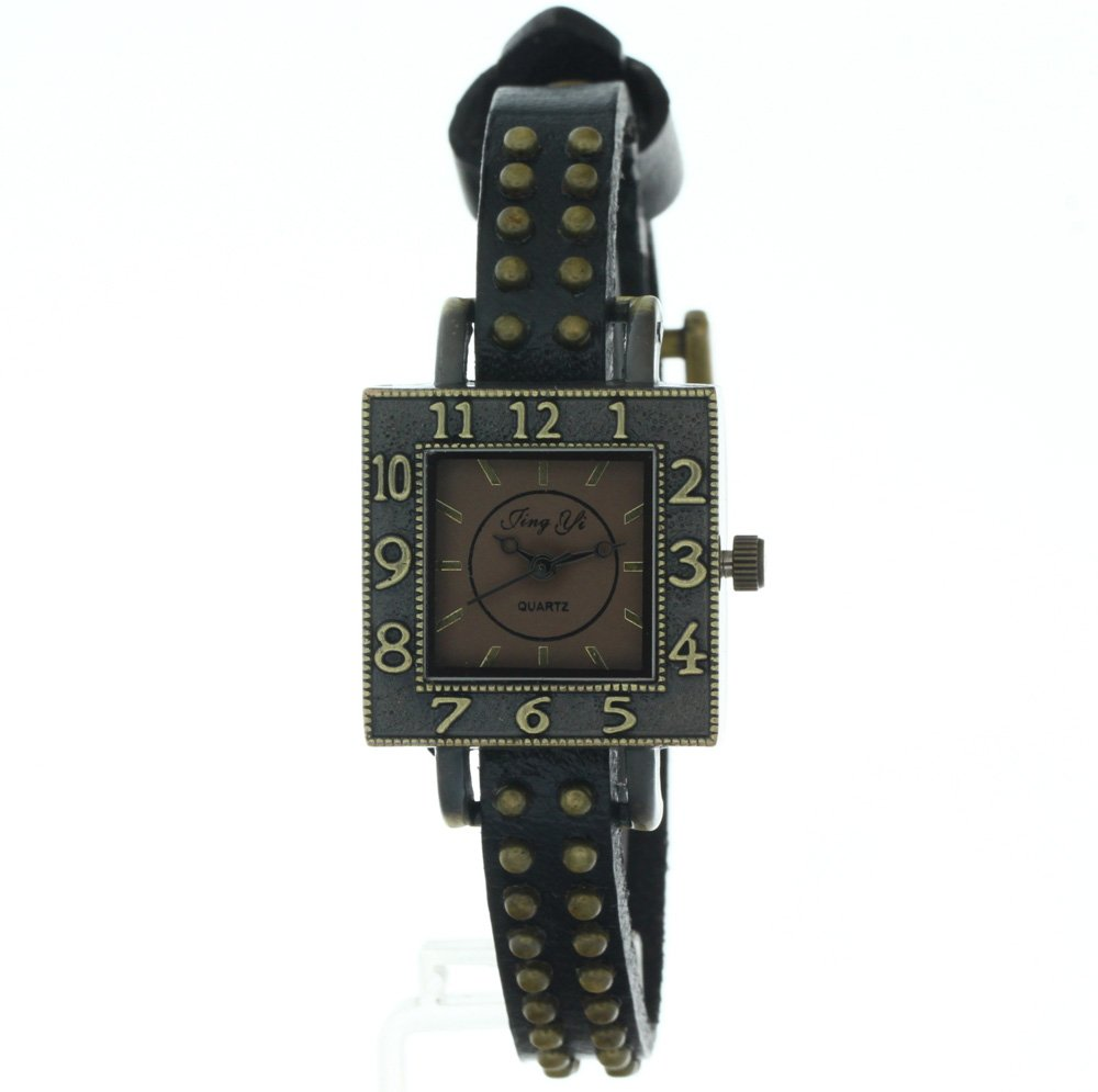 Two rows of Rusted Copper Rivets black Strap Square Case Fashion Quartz Watch