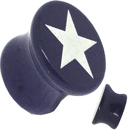 White Star Logo Plug Acrylic Double Flare Sold Pairs - GLA39 (6mm)