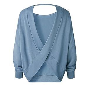 XOWRTE Blouse for Women Elegant Blue Long Sleeve T Shirt Women Pullover Sweaters Casual Backless Irregular Tops