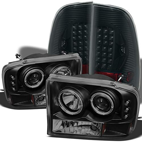 For 1999-2004 Ford F250/F350 Super Duty Midnight Black Smoked Halo Projector Headlights + LED Tail Lights 2000 2001 ()