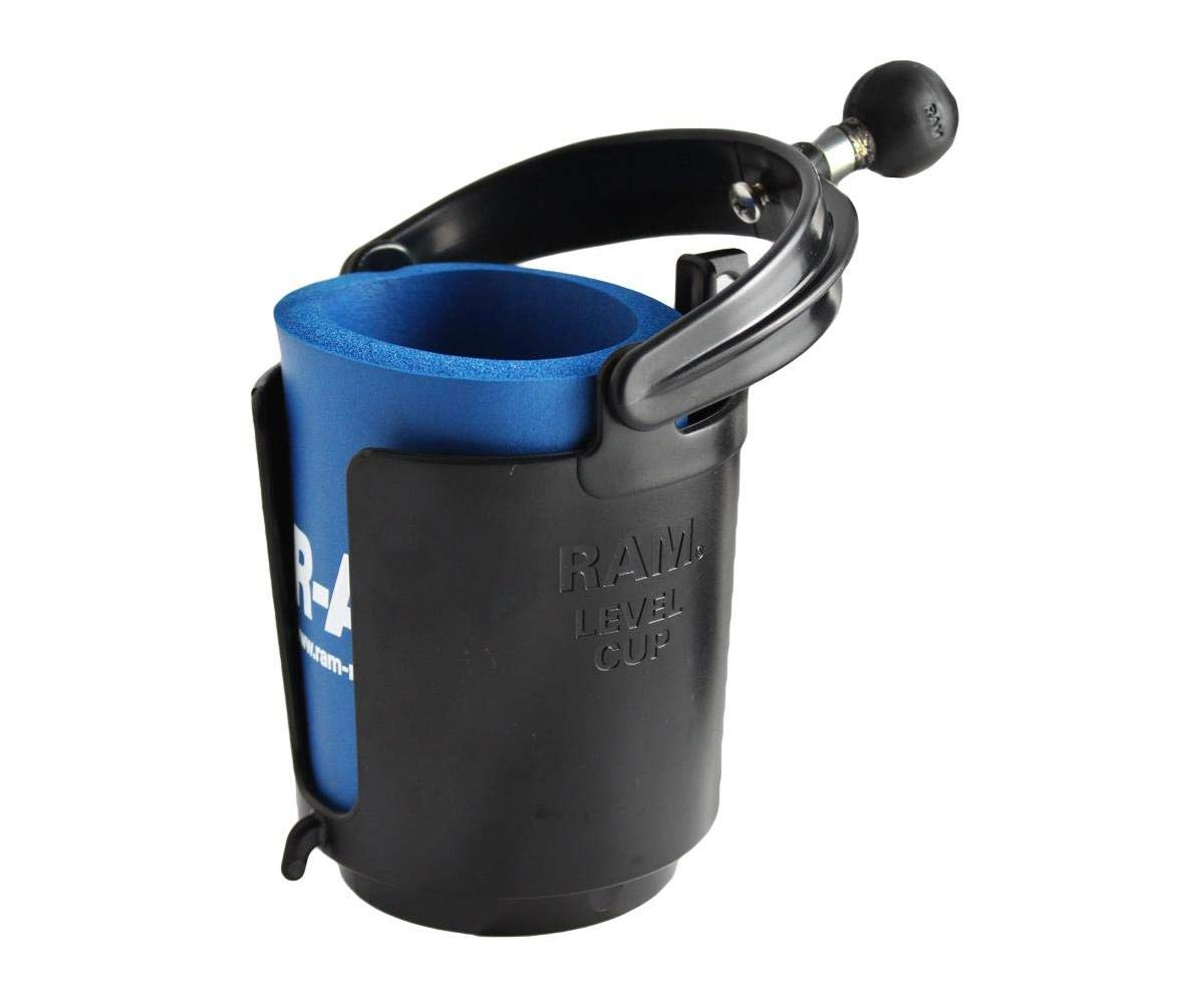 Black Sportsman Supply Inc RAM MOUNTS Self-Leveling Cup Holder with 1-Inch Ball and Cozy RAM-B-132BU