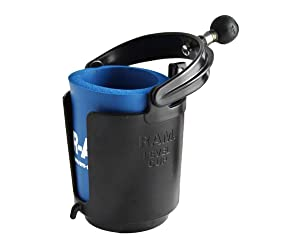 RAM MOUNTS Self-Leveling Cup Holder with 1-Inch Ball and Cozy, Black
