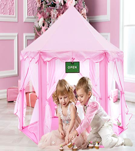 Play Kreative Pink Princess Castle Tent with Carry Case. Girls Pink Fairy Playhouse with Mesh Siding for Indoor/Outdoor Kids Playtime Activities – Lovely Birthday Gift for Her