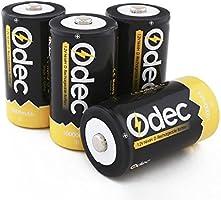 Odec Piles Rechargeables D NiMH 10000mAh - Pack de 4 Accus Mono/LR20