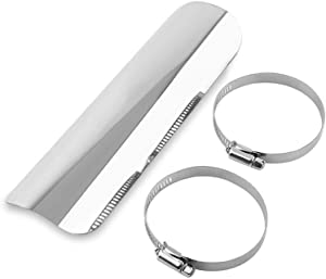 Suuonee Exhaust Heat Shield, Universal Metal steel Motorcycle Exhaust Pipe Heat-shield Muffler Staight Cover With 2 Clamps(Silver)