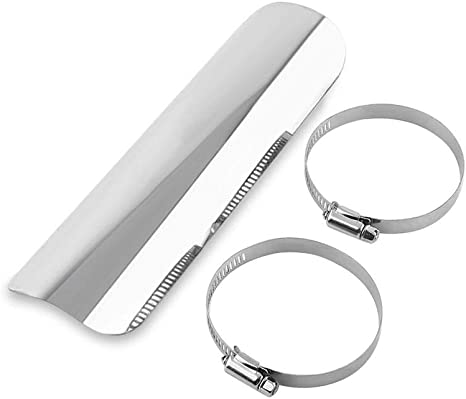 """9/"""" Motorcycle Silver Exhaust Muffler Pipe Heat Shield Cover Universal Guard Rear"""