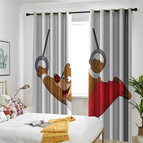 AndyTours Olympics Decorations Collection Simple Curtain Male Gymnast Bear with Rings Sportsman Artistic Funny Cartoon Character Image Great for Living Rooms & Bedrooms 72