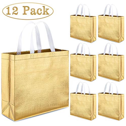 Promotional Gift Bags - Whaline Set of 12 Glossy Reusable Grocery Bag, Tote Bag with Handle, Non-woven Stylish Present Bag, Gift Bag, Goodies Bag, Shopping Bag, Promotional Bag, for Party, Event, Wedding, Birthday (Gold)