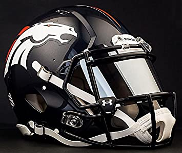 Riddell Speed Denver Broncos NFL Authentic Football Helmet with Mirrored Eye Shield/Visor