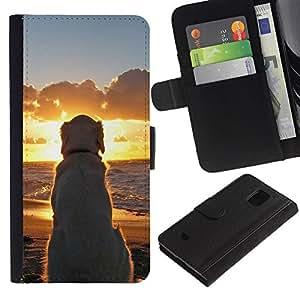 Paccase / Billetera de Cuero Caso del tirón Titular de la tarjeta Carcasa Funda para - Labrador Golden Retriever Sunset Ocean Dog - Samsung Galaxy S5 Mini, SM-G800, NOT S5 REGULAR!