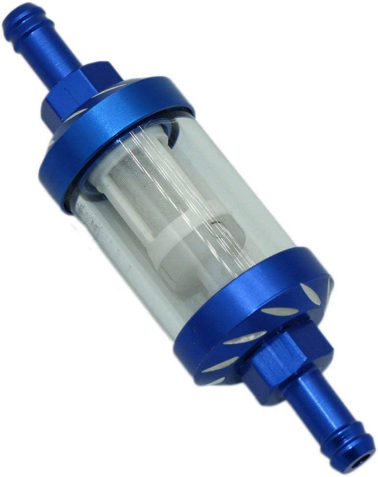 Blau CNC Aluminiumlegierung Glas Motorrad /Ölfilter Gas Kraftstoff Benzinfilter F/ür ATV Dirt Pit Bike Motorrad Zubeh/ör