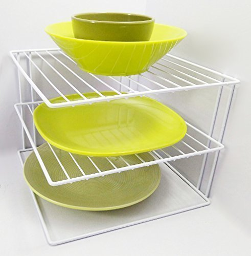 Direct Online Houseware 3 Tier Plate Organiser For Kitchen Cupboard Or Worktop - White Ricomex UK Ltd