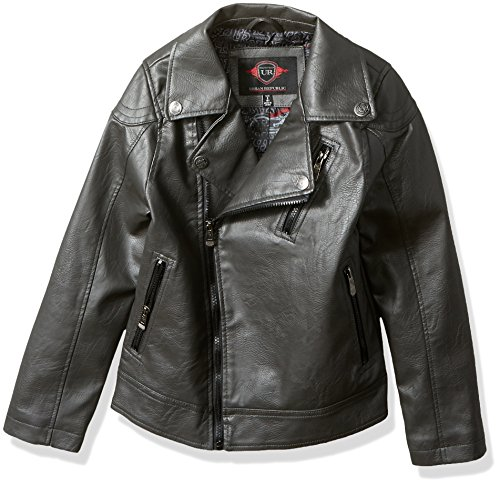 Urban Moto Jacket - Urban Republic Big Boys' Artsy Faux Leather Azymetrical Moto Jacket, Darkcharcoal, 8