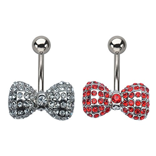 Gemmed bow Tie Navel Ring (Sold Individually) (Clear)