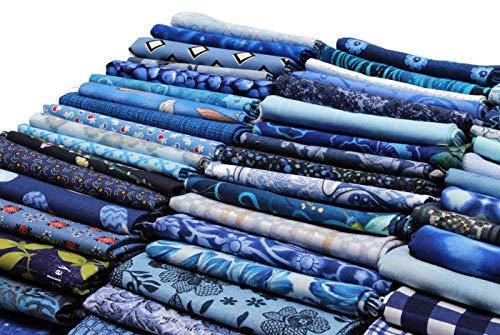 (10 Fat Quarters - Assorted Blue Novelty Prints Batiks Calico Blenders Stripes Plaids Floral Stash Building Quality Quilters Cotton Fabric Bundle M226.11)