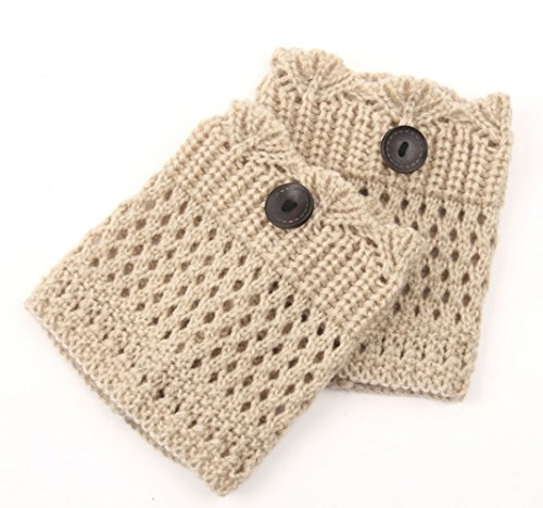 Spring Fever Women's Cable Knit Boot Cuffs Topper Leg Warmers(Beige,One Size )