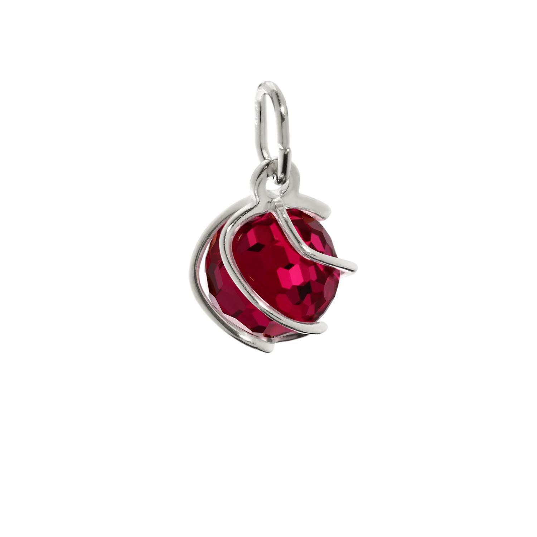 NKlaus Pendentif sphérique en argent sterling 925 synchrone Pendentif rubis rouge 7 mm 7862
