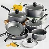 Tramontina PrimaWare 10-Piece Nonstick Cookware Set, Steel Gray