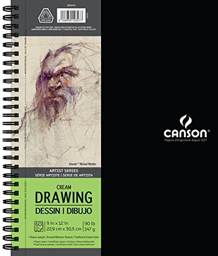 Canson Artist Series Cream Drawing Paper Pad, Side Wire Bound, 90 Pound, 9 x 12 Inch, Cream, 60 - Drawing Paper Cream