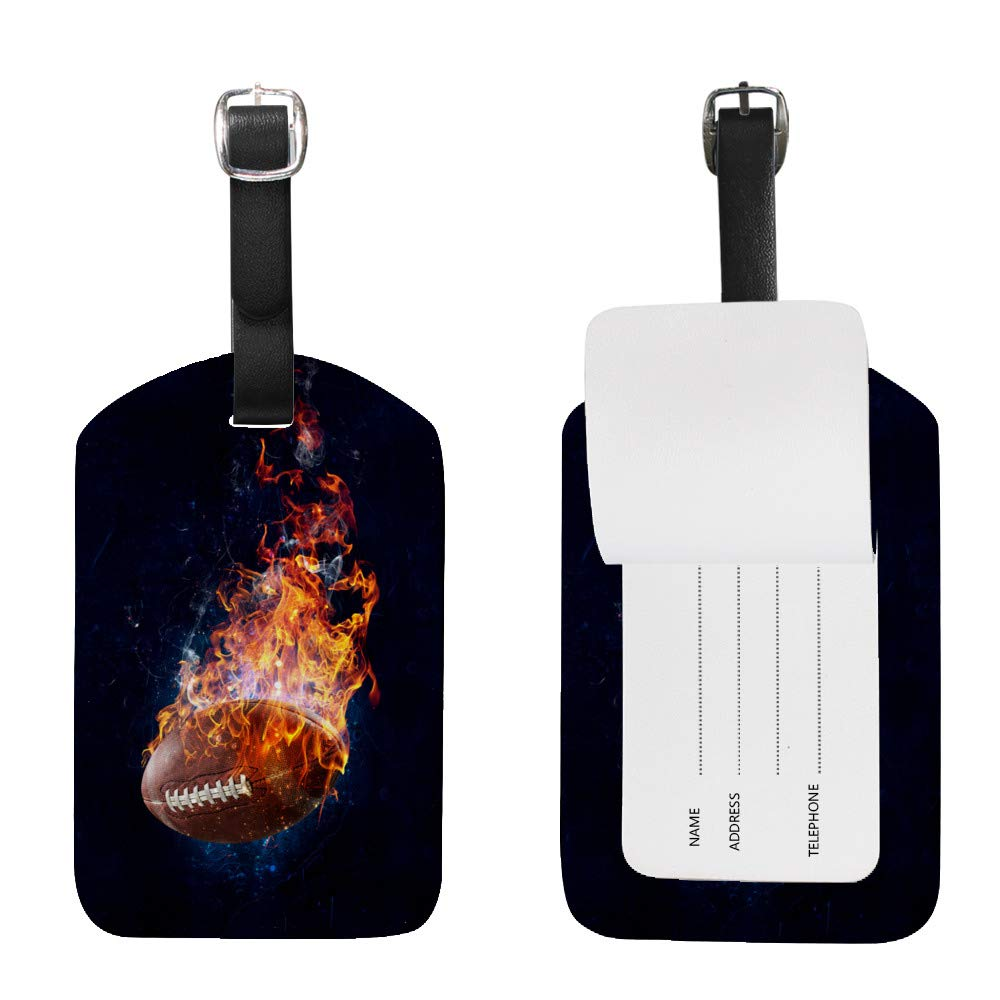 Luggage Tags PU Leather Tags Suitcase Labels Travel Bag With Privacy Cover Fire American Football Creative Pattern Printing 1pcs