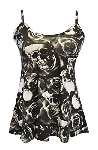 FashionMark Women's New Strappy Skull Rose Print Camisole Vest Top (SM=4/6, Black) by FashionMark (Image #3)