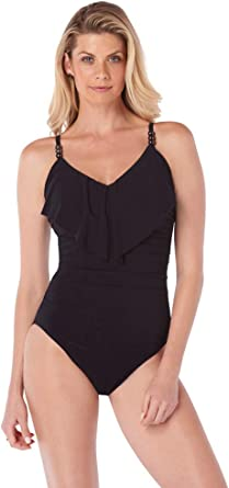 Magicsuit Womens Swimwear Solid Mikki V-Neck One Piece Swimsuit with Soft Cup Bra and Adjustable Straps
