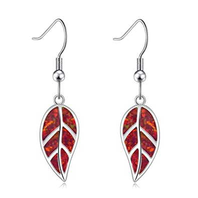 612279f12b8c8 CiNily Opal Leaf Dangle Earrings-Red Fire Opal White Gold Plated Drop  Earrings for Women