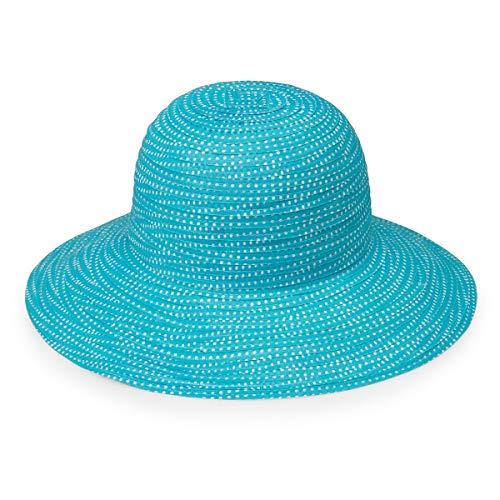 (Wallaroo Hat Company Women's Petite Scrunchie Sun Hat – Turquoise/White Dots – UPF 50+)