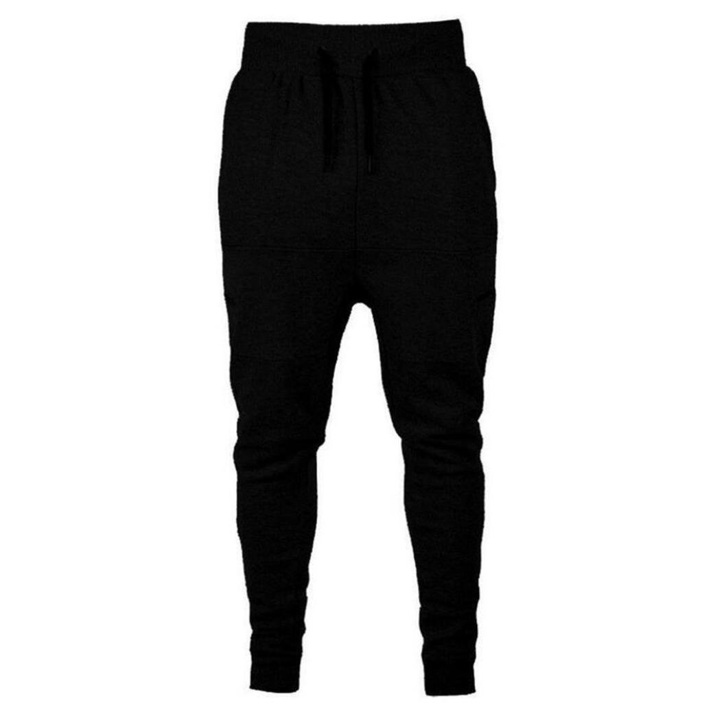 Allywit Men's Casual Cotton Zipper Sports Run Gym Jogger Pants Trousers Big and Tall