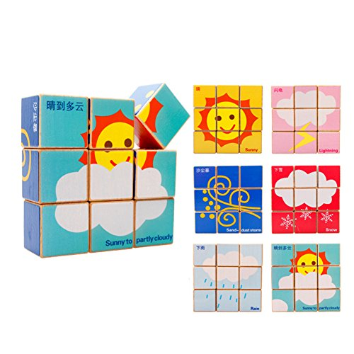 Children's Educational Toys Wooden Six Sides Puzzle Building Blocks-Weather