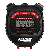 MARATHON Adanac 3000 Digital Stopwatch Timer with Extra Large Display and Buttons, Water Resistant. Color- Black/Red