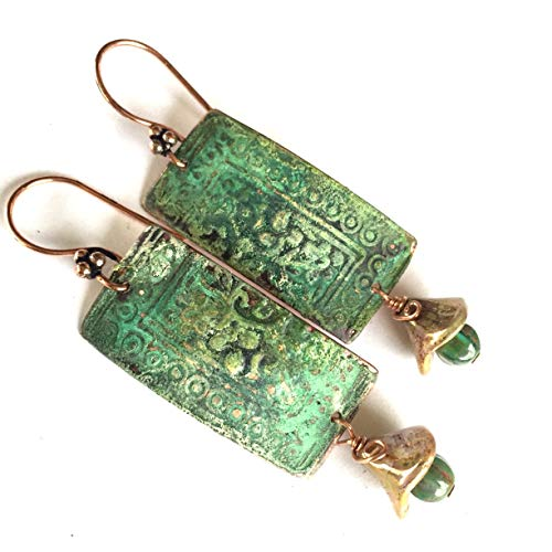 Athena Ancient Flower and Leaf Boho Blue Green Patina with Golden Drops Copper Earrings by BANDANA GIRL
