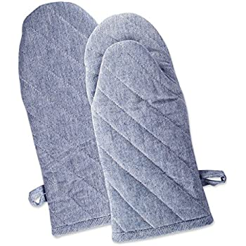 DII Cotton Chambray Oven Mitts, 13x6