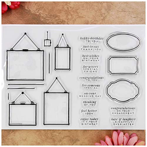Kwan Crafts Message Board Frame Word happy birthday Thank you Congratulations Wedding day Clear Stamps for Card Making Decoration and DIY Scrapbooking