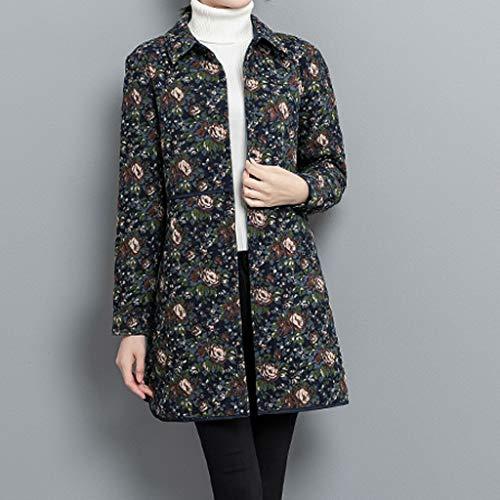TIREOW Frauen Floral Leinen Print Knöpfe Taschen Vintage Langen Mantel Parka Jacke Outwear
